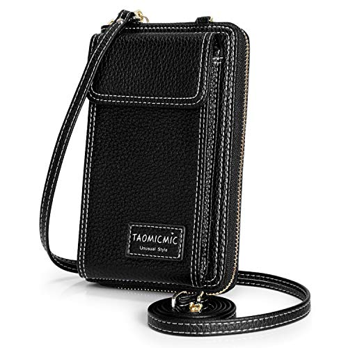 - S-ZONE Women Small Leather Cell Phone Purse Crossbody Phone Wallet Bag Pouch Zipper (Black)