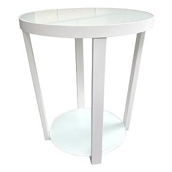 Hongsezhuozi Tische Couchtisch Eisen Glas Kleine Runde Tisch Weiß ...