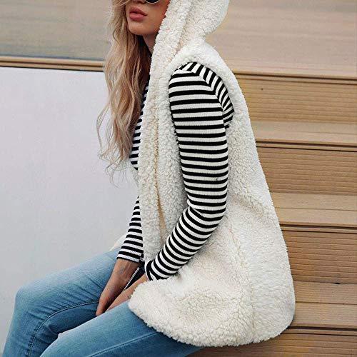 Moda Caliente Bolsillos Mangas Outwear Capucha Beige Las Sólido Para Mantener Color Lindo Invierno Señoras Sin Chaleco Con De El Abrigo Casual Suelto wFAfqZX