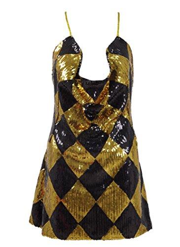 RongJun Womens HQ Harley Dress Cosplay Costume Gold (M, -