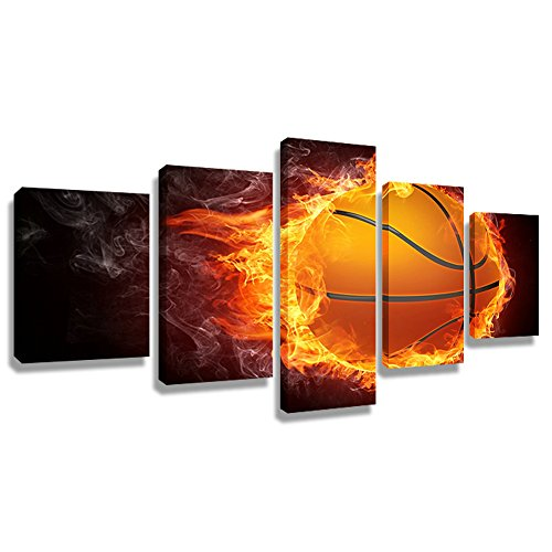 Fire Oil Painting - 5 Panel Wall Art Painting Burning Fire Basketball Prints On Canvas The Picture Decor Oil For Home Modern Decoration Print(50