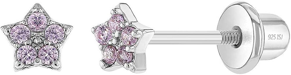 In Season Jewelry - 925 Plata de Ley Circonita Rosa Aretes de Estrella con Cierre de Rosca para Niñas
