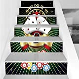 Stair Stickers Wall Stickers,6 PCS Self-Adhesive,Poker Tournament Decorations,Just Do It Old Fashioned Composition Luck Passion Wager Win,Multicolor,Stair Riser Decal for Living Room, Hall, Kids Room