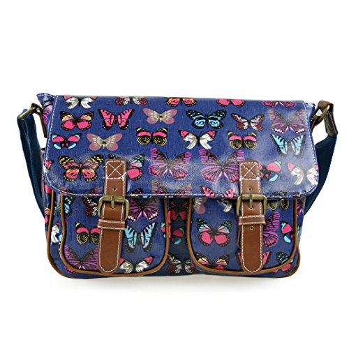 Butterfly SHOULDER CROSS POLKA HAND SATCHEL DOTS BAG Navy OWL SKULL SCHOOL FLORAL BODY OILCLOTH MISS LULU 0fqv66
