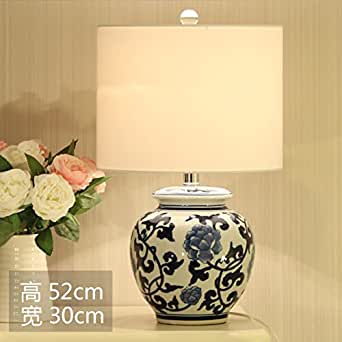 vintage chinese blue and white porcelain table lamp
