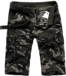 Mens Army Camouflage Camo Shorts Pants Casual Military Cargo Combat Trousers (29, Camo Fifth-pants)