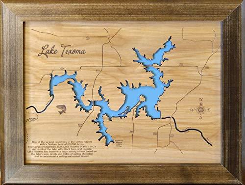 Lake Texoma, Texas and Oklahoma: Framed Wood Map Wall Hanging