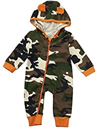 Newborn Baby Boy Girl Camouflage Hoodie Romper Jumpsuit Outfits Zipper Clothes