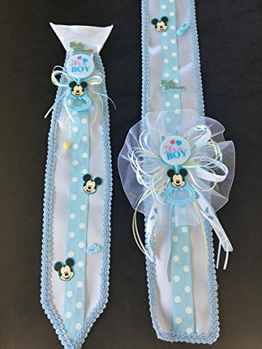 Blue Baby Mickey Mouse Baby Shower Sash & Tie Set -