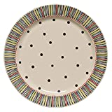 Thompson & Elm M. Bagwell Happy Together Collection Ceramic Serving Platter, 16.25-Inches in Diameter, Multicolor Stripes & Dots