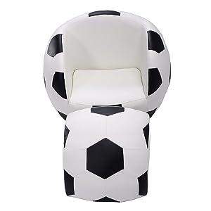 Costzon Kids Sofa Chair & Ottoman Children Armchair w/Footstool (Football)