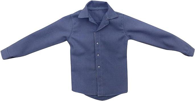 SunniMix 1/6 Escala De La Camisa De Los Hombres Ropa Masculina para 12 Soldado Figuras De Acción Muñeca DIY - Azul
