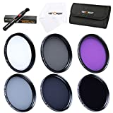 K&F Concept 37mm 6pcs Slim UV Slim CPL Slim FLD ND2 ND4 ND8 Lens Filter Kit UV Protector Circular Polarizing Filter Neutral Density ND Filter Set for Panasonic LUMIX DMC-LX7