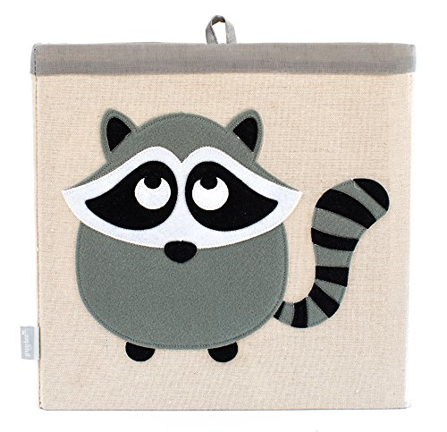 Large Collapsible Cube Storage Bin :: 100% Jute Canvas Toy Basket for Baby Items, Kids Clothes & Much More, 13 x 13 Square, with Adorable Felt Animal Design, Raccoon, Grey by Grey Bee