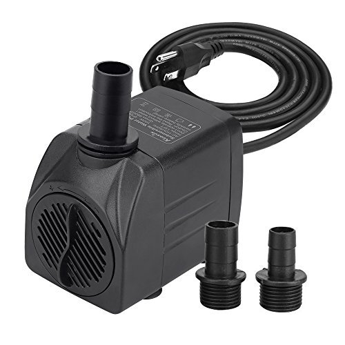 KEDSUM 330GPH Submersible Pump(1500L/H, 25W), Ultra Quiet Water Pump with 6.5ft High Lift, Fountain Pump with 5.9 ft Grounded Power Cord, 3 Nozzles for Fish Tank, Pond, Aquarium, Statuary, Hydropon ()