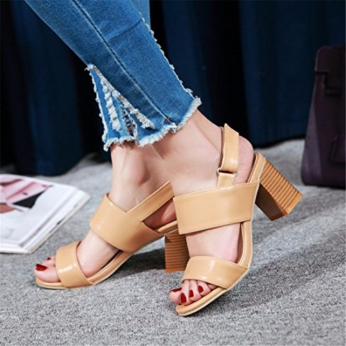 Sandalen Tau Sandalen Sandalen Damen Römischen und color Schnalle Damen mit Flops Flip Apricot ZnRdRqa