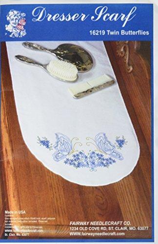 Scarf Dresser Butterflies (Fairway 16219 Dresser Scarf, Twin Butterfly Design, White, Perle Edge)