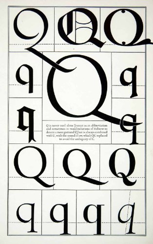 1942 Print Letter Q Decorative Graphic Design Element Type Frederic Goudy XDE8 - Relief Line-block Print from PeriodPaper LLC-Collectible Original Print Archive
