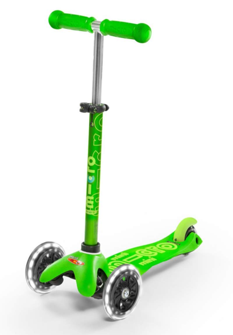 Micro Mini Deluxe - LED 3-Wheeled, Lean-to-Steer, Swiss-Designed Micro Scooter for Preschool Kids with LED Light-up Wheels, Ages 2-5 - Green by Micro Kickboard