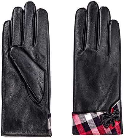18ade146151b2 Lambskin Leather Gloves Women Winter Touch Screen Plaid Bowknot Gloves with  Cashmere Lining