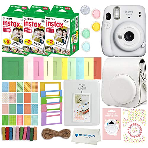 Fujifilm Instax Mini 11 Instant Camera with Case, 60 Fuji Films, Decoration Stickers, Frames, Photo Album and More Accessory kit (Ice White)
