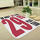 YOLIYANA Bath Mat,30th Birthday Decorations,for Dining Room Bathroom Office,35.43'x47.24',Forever Young Themed Funny Humorous Slogan