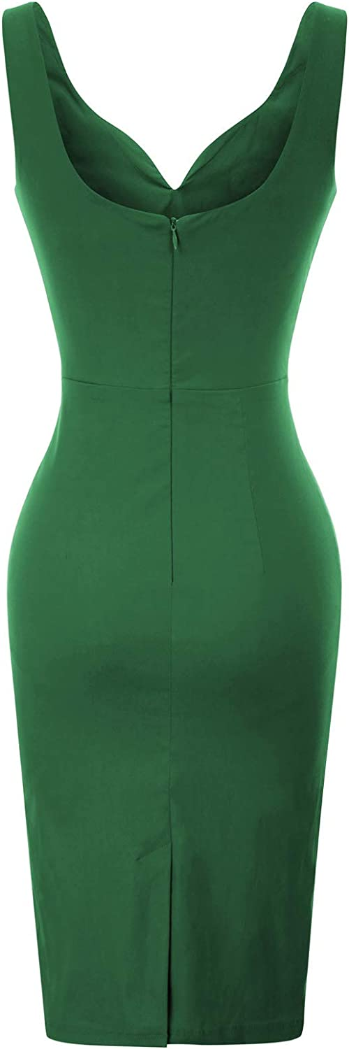 GRACE KARIN Women Vintage Solid Sleeveless V-Neck Hips-Wrapped Bodycon Party Prom Dress