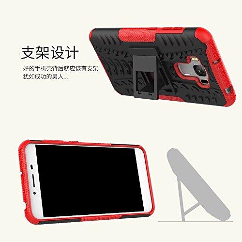 YHUISEN Zenfone ZC553KL Funda, Hyun Patrón de doble capa de armadura híbrida Kickstand 2 en 1 Funda de la caja de choque para Asus Zenfone 3 Max ZC553KL (5,5 pulgadas) ( Color : Black ) Blue