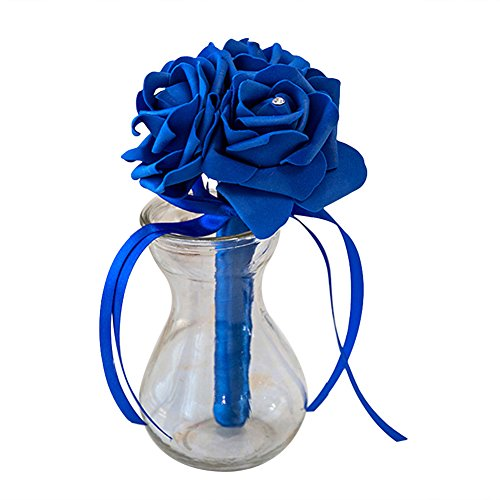 Dds5391 New 3 Heads Artificial Rose Flower Bridal Wedding Bouquet Party Banquet Home Decor - Sapphire Blue from dds5391