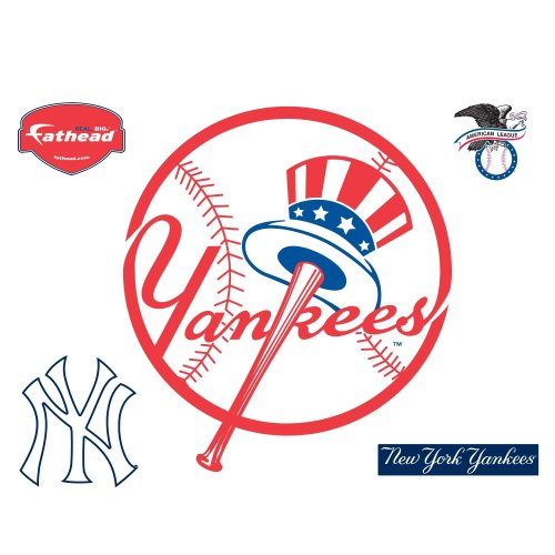 Fathead MLB New York Yankees New York Yankees: Circle Logo - Giant Officially Licensed MLB Removable Wall Decal -