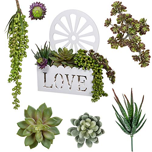 Artificial Fake Succulent Plants, Pack of 6 Assorted Arrangement, Hanging Green Faux Floral Pearls, Aloe Textured Plant Bouquet Pick | Home Decor, Weddings, Birthday & Holiday Gifts | Love Planter Pot