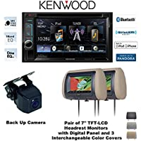 Kenwood DDX372BT 6.2 DVD Receiver with two Headrest Monitors CLS700x and Backup Camera TESSC