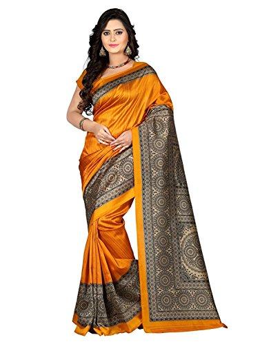 Jaanvi Fashion Women's Mysore Art Silk Saree (Printed_Red)