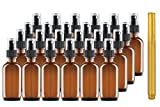 Culinaire 24 Pack Of 2 oz Amber Glass Bottles with Spray Tops and Gold Glass Pen