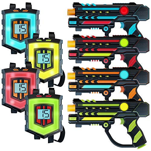 Rechargeable Laser Tag Set + Innovative LCDs and Sync – 4 Infrared Guns & Vests – Gifts for Teens and Adults Boys…