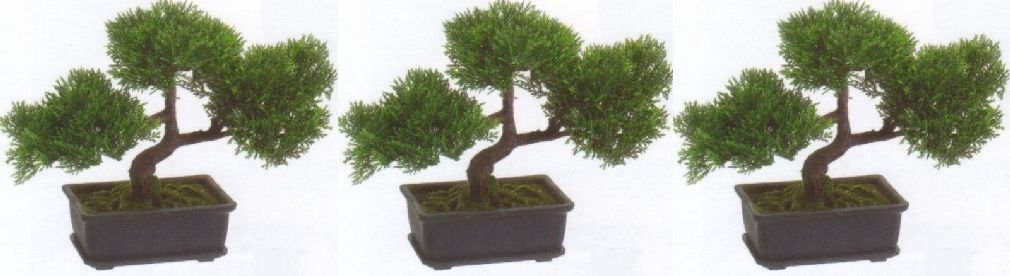 3 Artificial 9'' Tea Leaf Bonsai Tree Topiary In Outdoor Plant Pool Patio Home