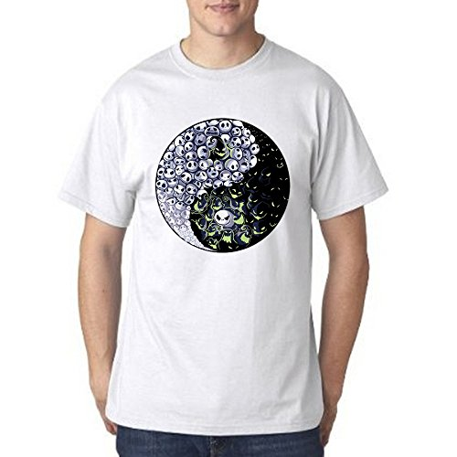 Nightmare Before Christmas Ying Yang for Men T Shirt (2X-Large, White) -