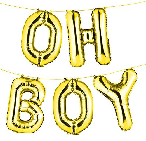 envizins 16 Gold OH BOY Foil Balloon Banner, Gender Reveal/Baby Shower/Photo Ornament/Party Decor