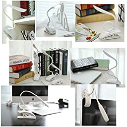 GranVela Clip Desk Lamp 2 in 1: Stand on Own / Clip Everywhere, Gooseneck Tube Touch Sensitive LED USB Rechargeable, Dimmable Portable Lightweight Desk Table Reading Bedside Lamp-White