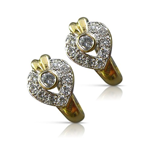 .65CT DIAMOND 14KT TWO TONE GOLD HEART CLUSTER FILIGREE EARRINGS #11683 14kt 2 Tone Diamond Earrings