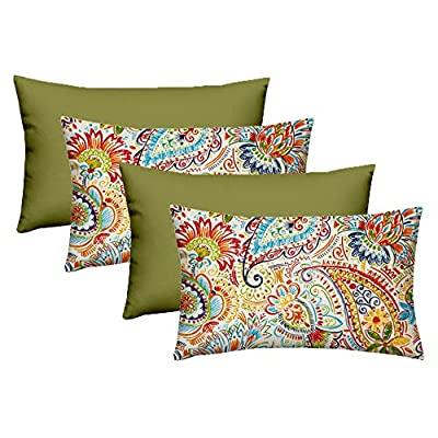 """RSH Décor Designer Indoor/Outdoor - Gilford Thin Line Paisley Coordinating Pillow Sets (20"""" x 12"""" - 2 Thin Line Paisley & 2 Kiwi Green): Home & Kitchen"""