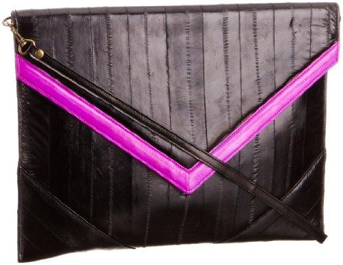 Makki the V Clutch, Pochette Donna Nero (Black/Hot Pink)