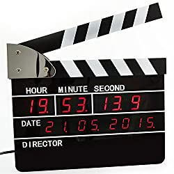 Retro Large Size Directors Edition Alarm Clock / Clapper Board Clapperboard Table Clock