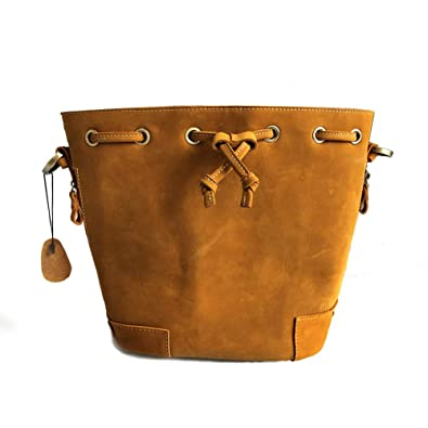1387776a8f49 Yoome Modern Leather Bucket with Drawstrings Vintage Women Shoulder Bag  Casual Backpack