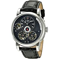Lucien Piccard Men's 'Cosmos' Automatic Stainless Steel and Black Leather Casual Watch (Model: LP-15071-01)