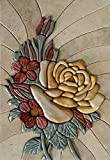 One of a Kind Flower Mosaic 3D Stone Art Tile Mural