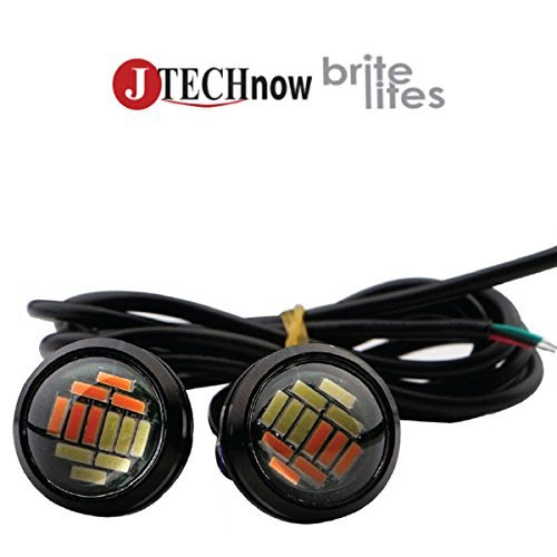 Jtech 2x 15W 12 SMD LED Dual Lights Eagle Eye Back Up Reverse Daytime Running Signal Light Bulb J TECH EE12D