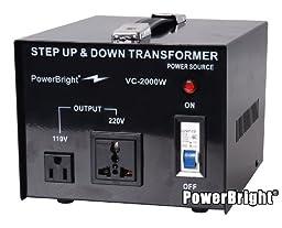 Power Bright VC2000W Voltage Transformer 2000 Watt Step Up/Down converter  110/120 Volt - 220/240 Volt