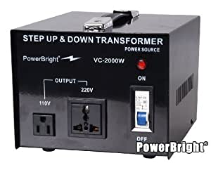 PowerBright VC2000W Voltage Transformer 2000 Watt Step Up/Down converter 110/120 Volt - 220/240 Volt