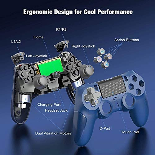 Wireless Controller for PS4, Y Team Game Controller Compatible with PStation 4/Pro/Slim, PS4 Remote Gamepad with Dual Vibration, Stereo Jack, Motion Sensor - Blue